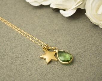 August Birthstone Necklace, August Birthstone, Peridot Necklace, Green Necklace, Teardrop Necklace, Birthstone Necklace, Peridot Jewelry