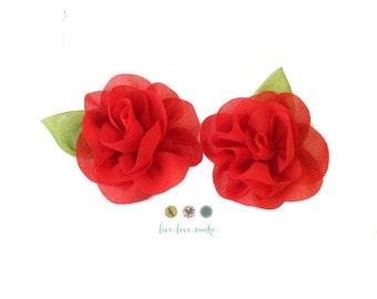 Red Chiffon Rose with Leaf Flower- Chiffon Rose Flower- Rolled Rosettes- Mini- Small-Shabby Rose -DIY-Headband-Flower Craft Supply