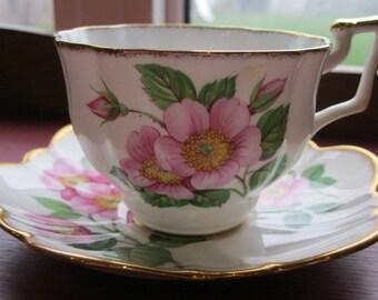 Beautiful Wild Rose Scalloped Salisbury Teacup and Saucer # 864332