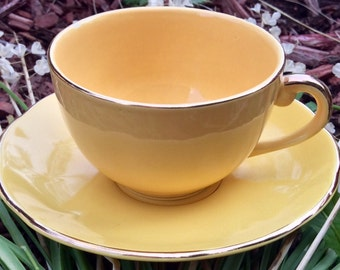 Vintage Royal Leighton Mustard Yellow Teacup and Saucer