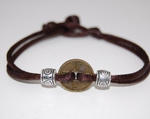 Chinese Lucky Coin,One Charm Thick Cord Bracelet,Spirituality, Mala Prayer, Men,Woman,Yoga,Protection,Meditation,Protection,Good Fortune