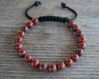 Red Jasper Bracelet,Gemstone 8mm Beads,Shamballa Bracelet,Yoga,Meditation Bracelet Fit All, Gemstone ,Man,Women, Beaded Jewelry