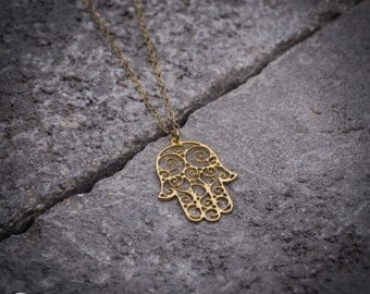 Dainty necklace, hand of fatima gold necklace, jewish necklace, hamsa hand, hamsa necklace, hamsa pendant, goldfiled necklace
