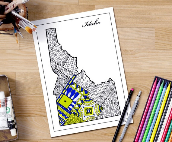 Idaho State Map Coloring Page For Adults Patriotic Printable