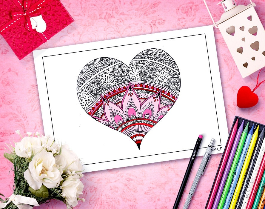 valentine coloring pages Zentangle heart adult coloring book