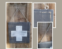 Handmade Rustic Black and White First Aid Sign.  Red Cross Sign, Wall decor, signs, wall art, rustic decor, cross sign, distressed sign