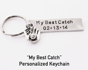 MY BEST CATCH Personalized Baseball Keychain.  My Best Catch.  anniversary gift,  Boyfriend girlfriend Keychain.  Husband wife Keychain.