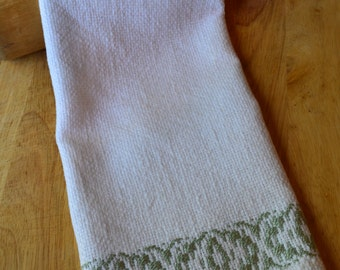 Handwoven Kitchen Towel - Hand Towel - Green Border Towel