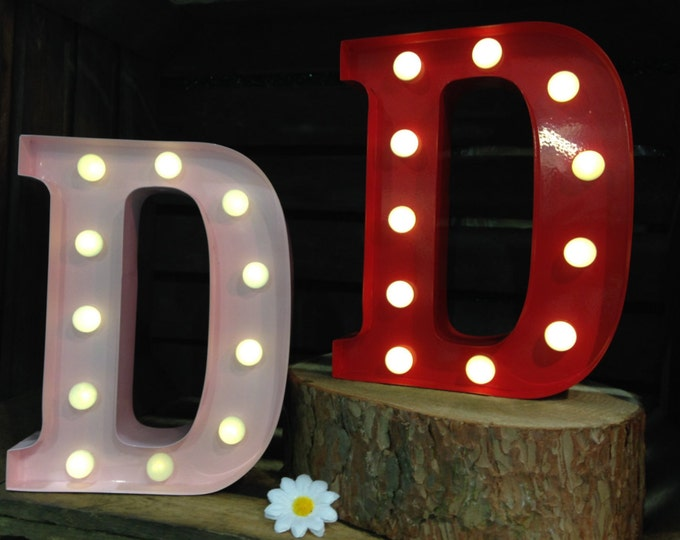 Vintage Metal Fairground Marquee Light up Letter D Light - Various Colours/Battery Operated - Perfect Night Light/Gift/Bedroom/Wedding Decor