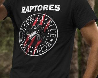 Raptores Dinosaur T-Shirt Blue Echo Charlie Delta funny Jurassic World mash-up with Ramones Band
