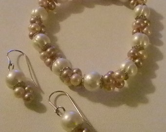 White Pink Pearl Stretchy Bracelet and Matching Dangle Pierced Earrings