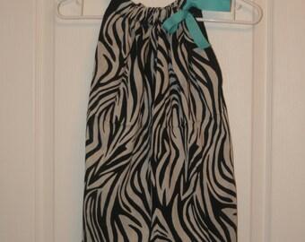 Zebra Print Bandana Dress with Teal Ribbon, BandanaTop. ONE SIZE. Ready to ship