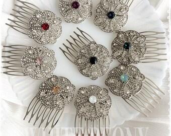 "Art Deco Great Gatsby Inspired Swarovski Crystal Wedding Hair Comb-Bridal Bridesmaids Small Crystal Hair Comb Color Choice-""CHERYL color"""