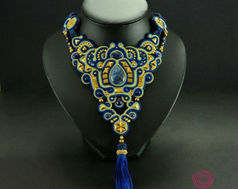 Navy Blue Tassel Necklace, Blue Soutache Necklace, Lapis Lazuli Necklace, Bridal Necklace, Unique Statement Necklace, Royal Blue Necklace