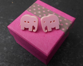 Elephant button stud post earrings, with heart detail