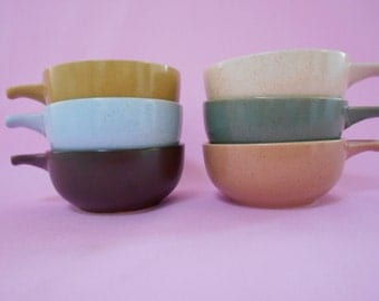 Retro Stoneware Ramekins in Earthy Harlequin Colours - Set of Six 1970's