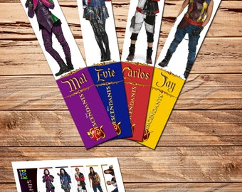 Disney Descendants - Bookmarks, Birthday Party Ideas - Digital Files - for girls and boys