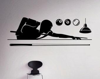 Billiard Pool Wall Decal Poolroom Vinyl Sticker Sport Wall Art Decor Home Interior Living Room Design