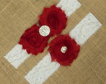 Red Wedding Garter, Bridal Garter, Bridal Garter Set, Wedding Garter Set, Garter Belt, Lace Garter, Lace Wedding Garter, Garter, SCWS-R04
