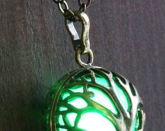 Green Glowing Pendant Necklace Tree of Life Locket Antique Bronze, Romantic Gift for Her, glow Jewelry
