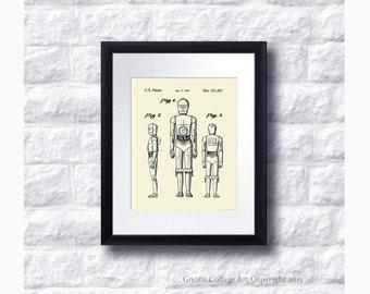 C3PO Robot Patent Art Print Star Wars Sci-Fi Movie, Star Wars Home Decor Star Wars Print #1
