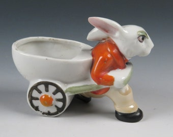 vintage Easter Rabbit pulling cart - Japanese lustreware