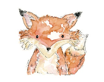 Fox Watercolor Print, 4x6, 5x7, 8x10, Playroom Art, Nursery Art, Children's Room, Kid's Room, Boy's Room
