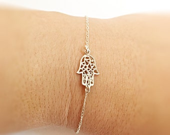 Silver Hamsa bracelet, Gift for Her, everyday bracelet, silver bracelet, Mother Gift, minimalist bracelet, protection jewelry, gold bracelet