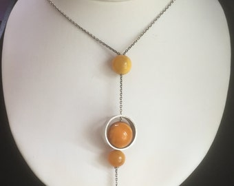 Vintage, Handmade Oxidised Sterling Silver and Amber Ball Abstract Necklace