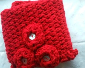 Red Crochet Cowl, Bright Red Cowl, Red Cowl, Red Scarf, Flower Cowl, Flower Scarf, Bright Red Scarf,Double,Thick, Warm