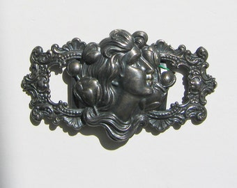 Art Nouveau Buckle! Woman's Head - Gibson Girl - Vintage One Piece Buckle!