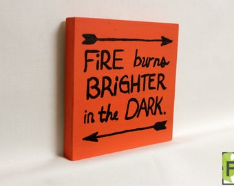 Hunger Games Painting//FREE gift wrapping//Quote//Girl On Fire//birch panel art