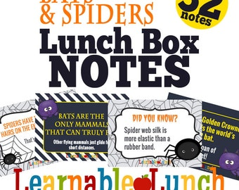 Halloween Animals Lunch Box Note COMBO PACK Spiders Bats Printable