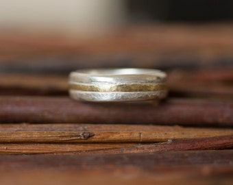 Man's wedding ring, Men's wedding ring, Man's wedding band, Gold and Silver Ring, Gold and Silver wedding ring, Gold Ring, Men's Ring