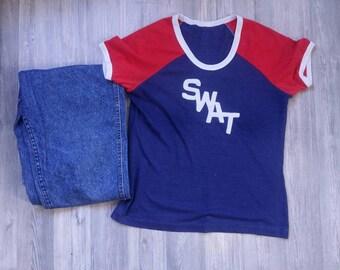 Vintage Swat shirt | Swat T-shirt | 70s Crew neck shirt | 70s soft tshirt | 50 50 shirts | 70s Paper thin shirt |
