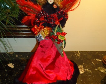 Vintage,  Victorian Angel  Dressed in Red,Tweed and Fur,  Christmas Decor