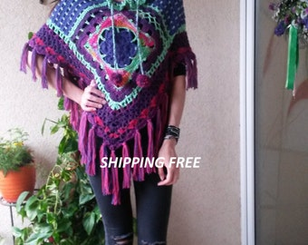 Crochet/Poncho/Tunic/Sweater with 3/4 sleeves/Handmade Colorful poncho /Spring,Summer Autumn Hand crocheted Poncho