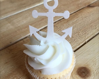 Anchor thin edible paper cupcake toppers, Nautical Theme, Nautical Party, 20, Wafer Paper, Food Safe, multiple colours available