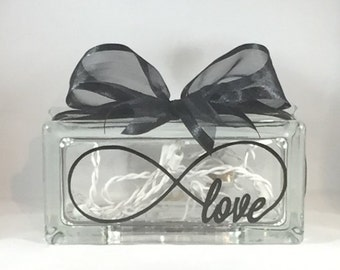 Love Infinity / Infinity Love Rectangular Decorative Home Decor Lighted Glass Block