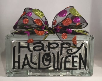 HAPPY HALLOWEEN/Halloween Rectangular Lighted Glass Block