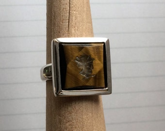 Sterling Silver Tiger's Eye Intaglio Cameo