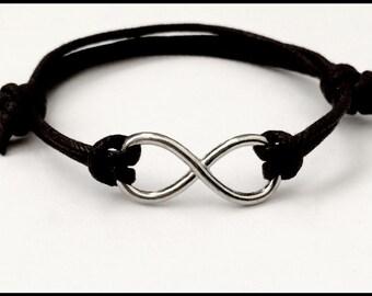 Men's infinity bracelet, friendship cord bracelet, silver infinity charm, trendy men's bracelet, men's black cord, cuff bracelet men.