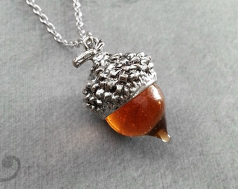 Acorn Necklace Red Glass Acorn Jewelry Silver Acorn Charm Necklace Acorn Pendant Necklace Nature Jewelry Squirrel Jewelry Acorn Gift Autumn