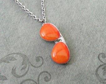 Sunglasses Necklace Orange Sunglasses Charm Necklace Sunglasses Jewelry Glasses Necklace Summer Necklace Summer Jewelry Silver Necklace
