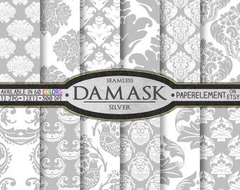 Gray Digital Paper: Gray Damask Digital Paper Pack, Silver Scrapbook Paper, Silver Damask Scrapbook Paper Gray Damask Paper Digital Download