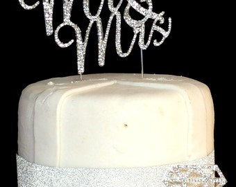 Real Rhinestone Mr & Mrs Silver Cake Topper Wedding Cake Topper