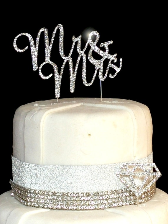 personalised silver wedding cake toppers real rhinestone mr amp mrs silver cake topper wedding cake 18223
