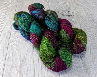 "Hand Dyed Yarn.  Indie Dyed Yarn.  Superwash Merino Nylon Sock Yarn.  ""Welcome to the Jungle"""
