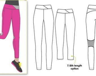 Monica Pant // Sizes 10, 12 & 14 // Pull on Sports Legging PDF Sewing Pattern for Women // PDF pattern for Printing at Home