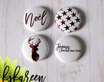 """Badge 1 """"- Merry Red Metallic holiday time"""